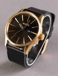 nixon sentry leather watch gold black