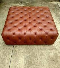 brown leather ottoman saddle tufted square coffee table