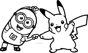 Small Picture Minion Pikachu Dance Pokemon Coloring Page Wecoloringpage