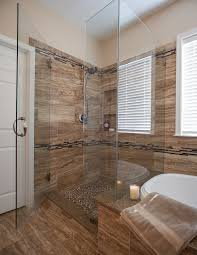 ... Cool Shower Seat Ideas : Fancy Bathroom Design With Brown Tiles Plus  White Bathtub And Glassed ...