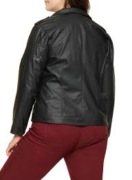 plus size faux leather moto jacket black large