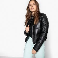 la redoute collections women s clothing black faux leather padded jacket press stud fastening length cropped