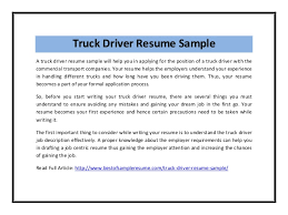 Gallery Of Truck Driver Resume Examples