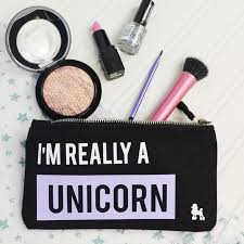 a fun slogan bag for any unicorn lover great for storing make up and