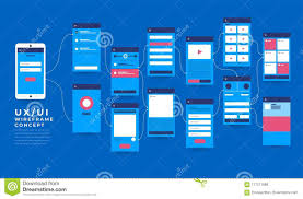 Ux Ui Flowchart Mock Ups Mobile Application Concept Flat