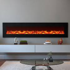 log electric wall mounted fireplace in black