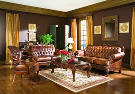 Living Room:Elegant Victorian Style Living Room Design With Gold Curtain  And Cool Brown Leather