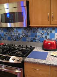 kitchen blue glass backsplash. Blue Glass Backsplash Tile With Oak Cabinets And White Quartz Countertop Kitchen