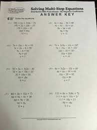 solving multi step equations worksheet answers distributive with paheses algebra 1 inspirational lesson 3 2 equati