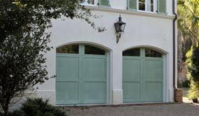 green garage doors