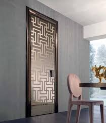 dress up an office door with gold lettering on etched glass in the spirit of a 1940s private investigator or mimic shoji doors with obscured glass