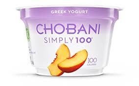 chobani simply 100 peach blended non fat greek yogurt 5 3oz