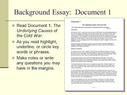 grade world history model lesson causes of the cold war  background essay document 1 document 1 the underlying causes of the cold war