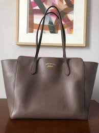 excellent pre owned gucci swing tote bag leather mushroom brown pink