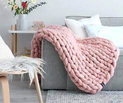 chunky knit throw blanket pink
