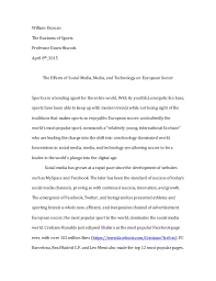 final essay william duncan the business of sports professor dawn hiscock 8th 2015 the effects of