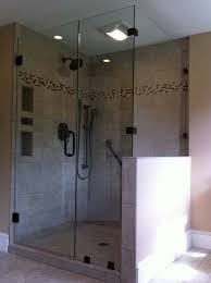 frameless glass shower door panel knee wall