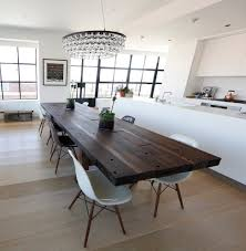 dark wood dining table with white chairs dark table with light chairs kitchen contemporary with solid