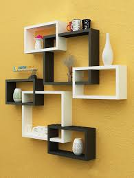 home décor intersecting boxes black red white color wall shelf wall shelf family us er