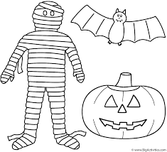 Small Picture Mummy with pumpkinjack o lantern and bat Coloring Page Halloween