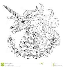 Hand Drawing Unicorn For Adult Anti Stress Coloring Pages Stock