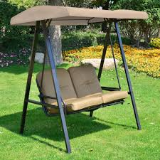 outsunny 2 seater outdoor garden metal swing chair beige