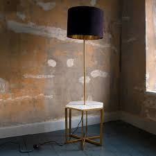 gianna hex side table with floor light and shade