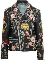 embellished leather biker jacket black