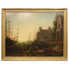 large antique oil painting on canvas harbour at sunset and the villa medici for