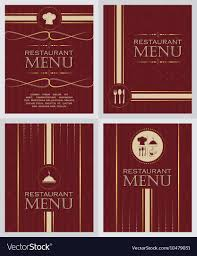 Restaurant Menu Book Design Set Of Restaurant Menu Design Cover Template In