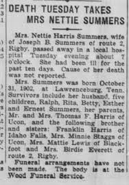 Nettie Harris Summers obituary - Newspapers.com