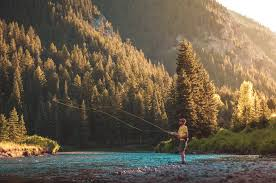 fly fishing guy man camping outdoors adventure nature sunshine fly fishing guy man camping outdoors adventure nature sunshine summer river stream water rocks trees forest woods mountains hills stock pictures
