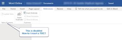 Office365 Word 365 Word Online Insert Table Of Contents