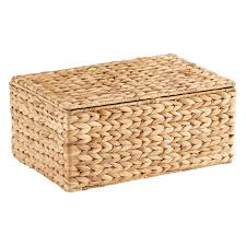 Small Water Hyacinth Storage Box with Hinged Lid ...