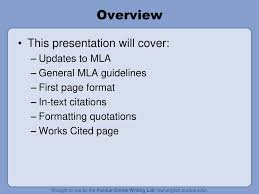 Purdues Mla Formatting And Style Guide Synopsis Adapted Ppt