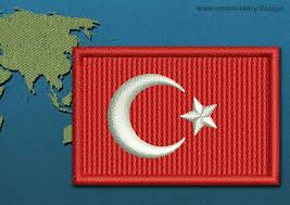 Mini Turkey Embroidery Design Turkey Mini Flag With A Colour Coded Border