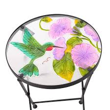 adeco accent round glass top side table plant stand