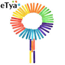 Etya 50pcslot Colorful Wood Popsicle Sticks Kids Diy Handcrafts