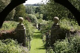 english garden view from gazebo