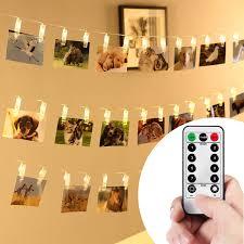 Battery Powered Clip On Light Amazon Com Vipmoon Led Photo Clip Remote String Lights 2m
