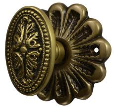 flower rosette beaded style avalon oval door knob set antique brass finish