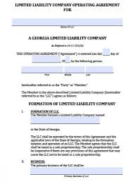 Georgia Single Member Llc Operating Agreement - Free Llc Operating ...