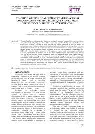 Creativity Essay Pdf Teaching Writing Of Argumentative Essay Using Collaborative