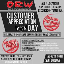 WE APPRECIATE YOU!! August 10th is <b>ORW</b>... - <b>Off Road</b> Warehouse