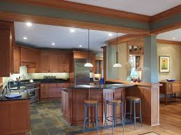 slate floor kitchen. Large Craftsman Eat-in Kitchen Appliance - Example Of A Arts And Crafts U Slate Floor