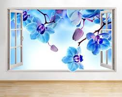 f384 blue orchid flowers branch window wall decal 3d art stickers vinyl room on orchid vinyl wall art with orchid wall decals etsy