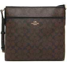 Coach File Bag In Signature Handbag Gold   Brown   Black   F58297