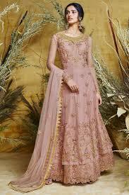 Light Pink Indian Wedding Dress Light Pink Net Bridal Wear Embroidered Anarkali Suit