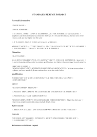 standard college resume format college resume 2017 resume