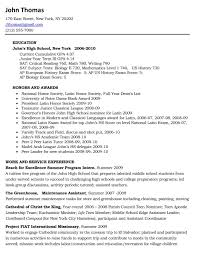 Resume Samples For High School Students Applying To College Free